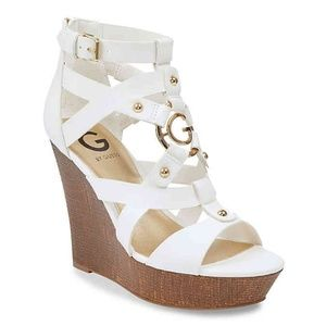••  G by Guess Dodge Platform Wedge Sandals-White